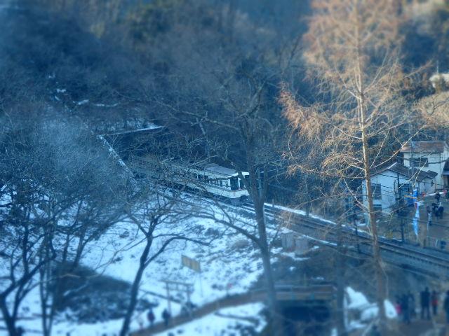 あしがくぼの氷柱 電車