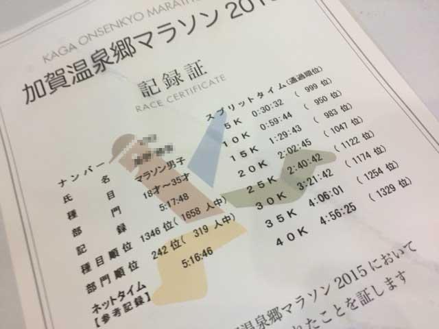 加賀温泉郷マラソン 記録証