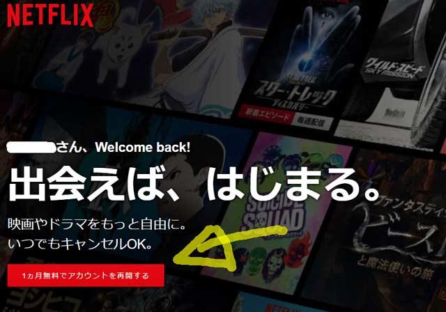 Netflix 無料で再開
